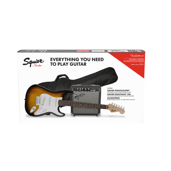 Squier 0371823332 Strat Pack, Laurel Fingerboard, Brown Sunburst, Gig Bag,