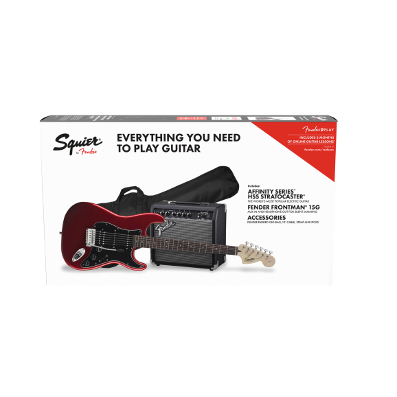 Squier 0371824309 Affinity Strat HSS Pack, Laurel Fingerboard, Candy Apple Red, Gig Bag, 15G