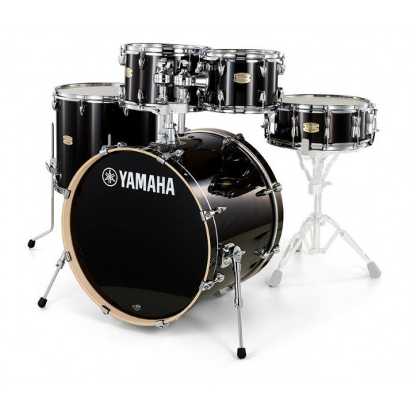 Yamaha Stage Custom Birch Euro Drum Kit w/ Hardware + Paiste PST5 Cymbal Pack (RAVEN BLACK)