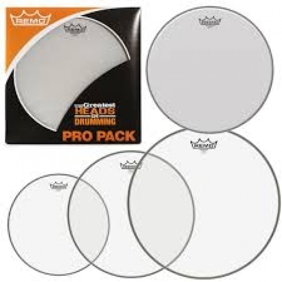 "Remo Emperor Clear Rock Pro Pack (12"",13"",16"" + BONUS 14"" Coated Ambassador)"