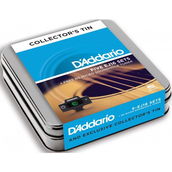 D'Addario EJ16 5 Pack Acoustic Strings w/ Soundhole Tuner