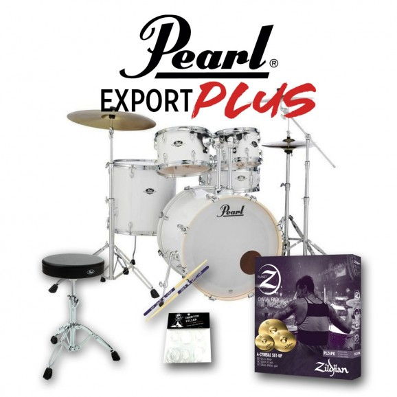 """Pearl Export EXX Plus 22"""" Drum Kit w/ 830 Hardware pack and Zildjian Planet Z Cymbal Pack - Pure White"""