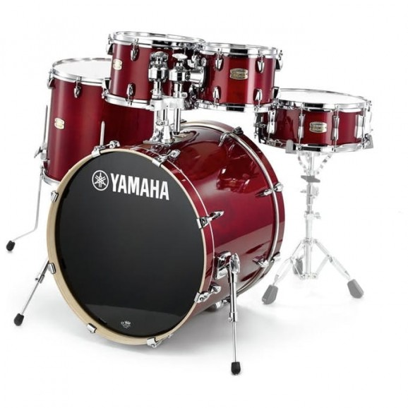 Yamaha Stage Custom Birch Euro Drum Kit w/ Hardware + Paiste PST5 Cymbal Pack - Cranberry Red